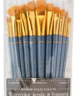 Pintslite komplekt sünteetiline 12tk Gold Taklon/ Ümar Royal & Langnickel